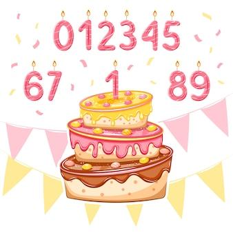 Set met verjaardagstaart en roze leeftijdskaarsen voor meisjesverjaardag, baby showerkaart, banners, postersontwerpen. illustratie.