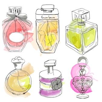 Set met verschillende flesjes parfums. vector illustratie