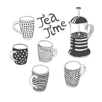 Set met verschillende kopjes en theepot quote tea time vector illustration