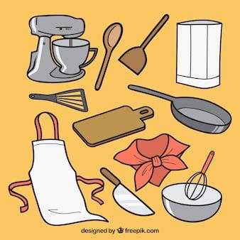 Set met verschillende soorten chef-kok elementen