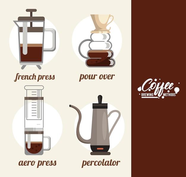 Set met vier koffiezetmethoden