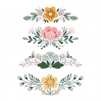 Set met vintage bloemboeketten