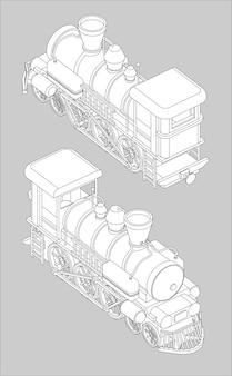 Set met voor- en achteraanzicht van een stoomlocomotief