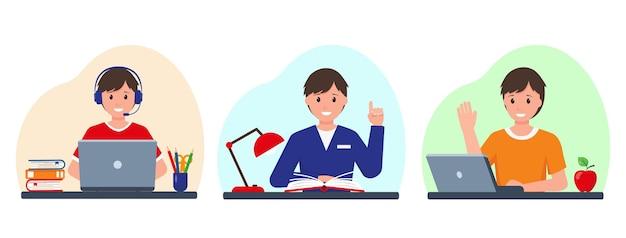 Set met vrolijke lachende leerlingjongens die studeren met laptop en boeken