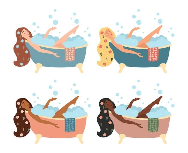 Set met vrouwen die een bad nemen met schuimbellen. verschillende huid- en haarkleuren.