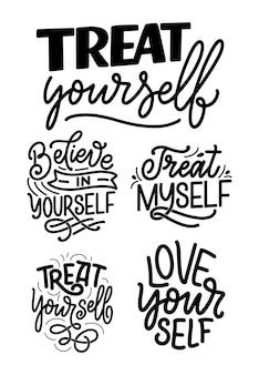 Set met zelfzorg belettering citaten voor blog of verkoop. tijd voor iets leuks.