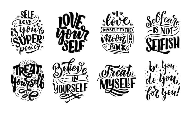 Set met zelfzorg belettering citaten