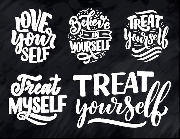Set met zelfzorg belettering citaten.