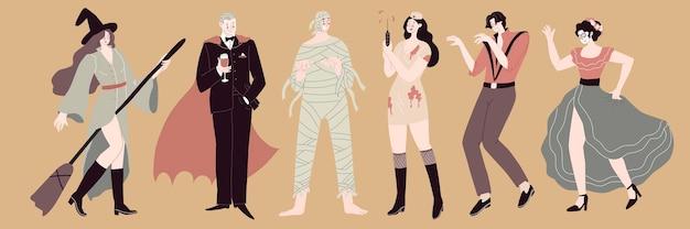 Set met zes mensen in kostuums vieren halloween-feest heks mummie zombie vectorillustratie