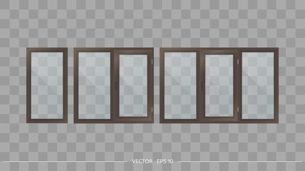 Set metaal-kunststof ramen met transparante glazen. moderne ramen in een realistische stijl. vector.