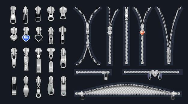 Set metalen ritsen en schuivers met hangersgesloten en open sluitingen voor zilverkleurig metaalkleurig design