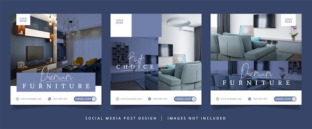 Set meubelflyer of sociale media-banner