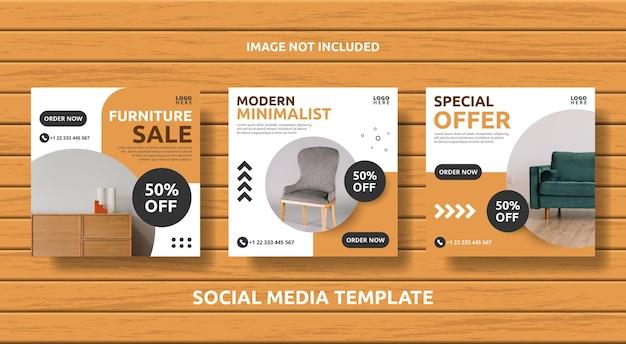 Set meubels social media vierkante post banner sjabloon square