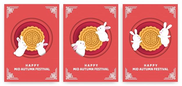 Set mid autumn festival-kaarten met konijnen en maancakes in papierstijl.