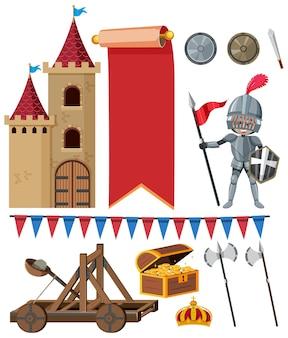 Set middeleeuwse historische voorwerpen