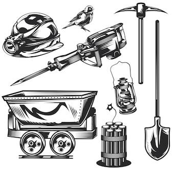 Set mijnwerkerselementen voor het maken van uw eigen badges, logo's, labels, posters etc.
