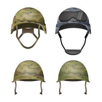 Set militaire camouflagehelmen in kaki camokleuren. klassiek, met bril, combat en met projectielijnen. verschillende soorten legerhoofddeksels. beschermend element voor de hoofdafdekking. paintball.