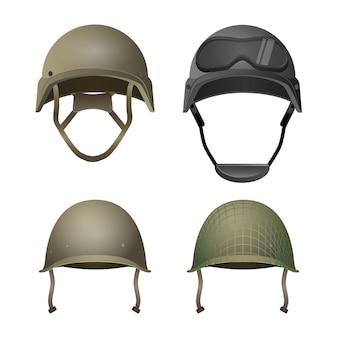 Set militaire helmen. klassiek, met bril, combat en met projectielijnen. verschillende soorten legerhoofddeksels. beschermend element voor de hoofdafdekking. kies je uniform in paintballspel. Premium Vector