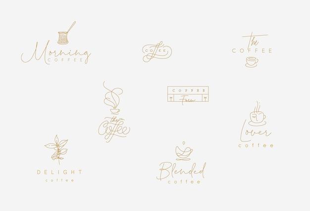 Set minimalisme moderne koffie-elementen tekenen in platte lijnstijl op turkooizen achtergrond