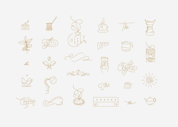 Set minimalisme moderne koffie-elementen voor uw ontwerptekening in platte lijnstijl op turkooizen achtergrond