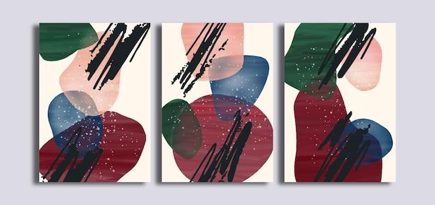 Set minimalistische abstracte kunst aan de muur met penseelstreek