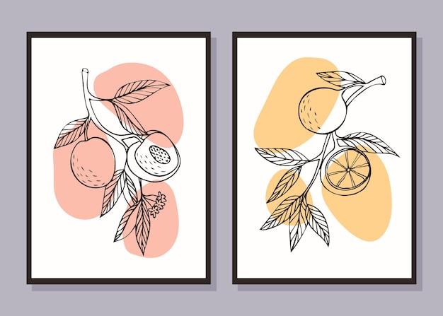 Set minimalistische fruitposters tak met perziken tak met sinaasappels
