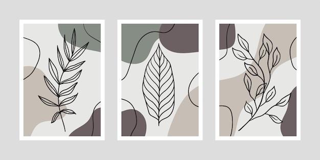 Set minimalistische posters met bladeren