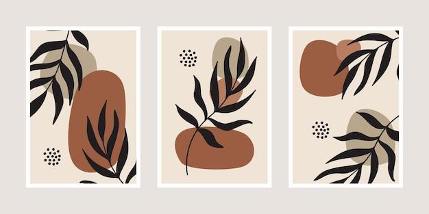 Set minimalistische posters met palmbladeren
