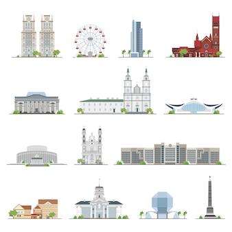 Set minsk stadsgebouwen, beroemde plaatsen in vlakke stijl.