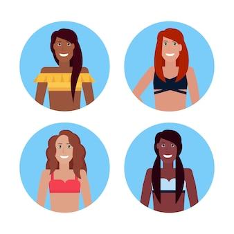 Set mix race bikini vrouwen gezicht avatar meisjes in badpak collectie zomervakantie vrouwelijke stripfiguur portret flat geïsoleerd
