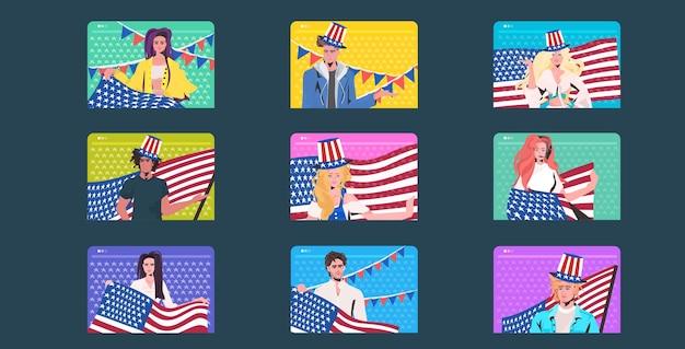 Set mix race mensen in feestelijke hoeden met usa vlaggen vieren, 4 juli amerikaanse onafhankelijkheidsdag kaartenn