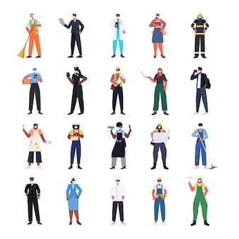 Set mix race mensen van verschillende beroepen met maskers