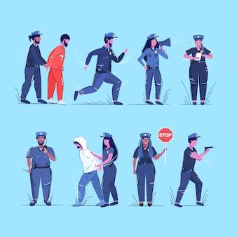 Set mix race politieagenten collectie politieagenten en politievrouwen in uniform verschillende situaties veiligheidsdienst justitie service concept schets volledige lengte