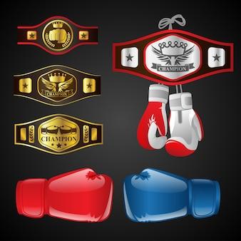 Set mma-objecten - moderne vector realistische geïsoleerde illustraties op donkere achtergrond. mixed martial arts items: bokshandschoenen, kampioensriemen, onderscheidingen met titels en emblemen. blauwe en rode wanten