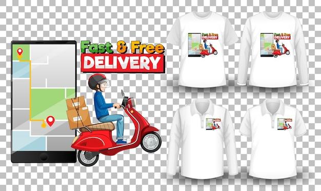 Set mockup-shirt met leveringsthema