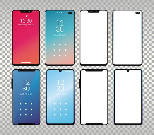 Set mockup smartphones-apparaten.