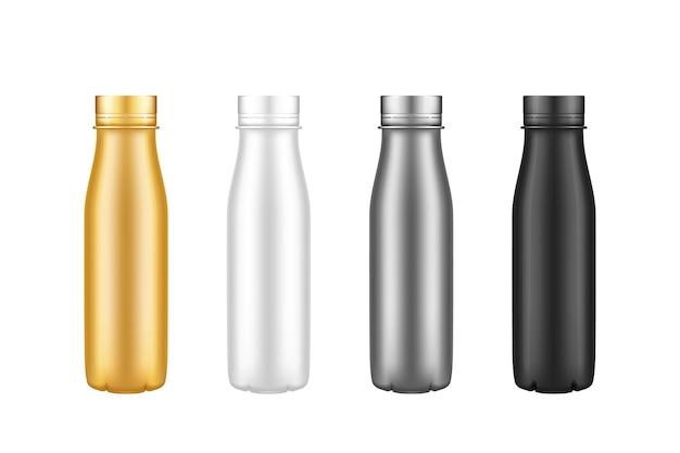 Set mockups voor yoghurt plastic flessen - goud, zilver, zwart, wit