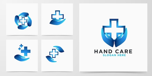 Set modern handverzorging medisch kruislogo