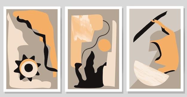 Set moderne abstracte posters hedendaagse minimalistische kunst aan de muur met verschillende vormen
