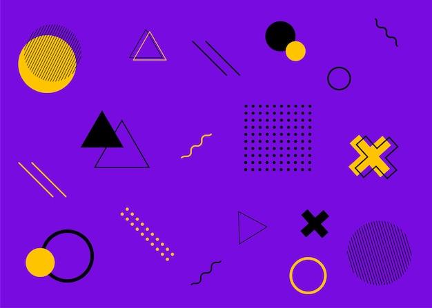 Set moderne covers in memphis-stijl. kleurrijke geometrische achtergrond kan worden gebruikt brochureontwerp, flyer, webbanner, advertenties poster, tijdschrift, platte omslag voor web. vectorillustratie.