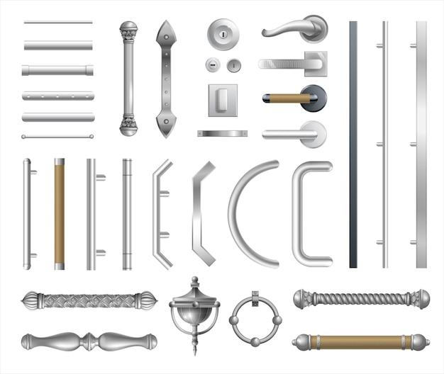 Set moderne deurkrukken voor deuren of ramen. architectonische details en accessoires. vectorafbeeldingen