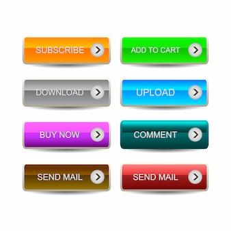 Set moderne materiële stijlknoppen voor website, mobiele app en infographic