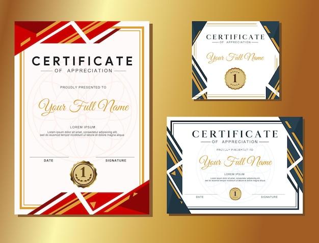 Set moderne ontwerpsjablonen voor waarderingscertificaten heldere en opvallende kleurenwedstrijd win