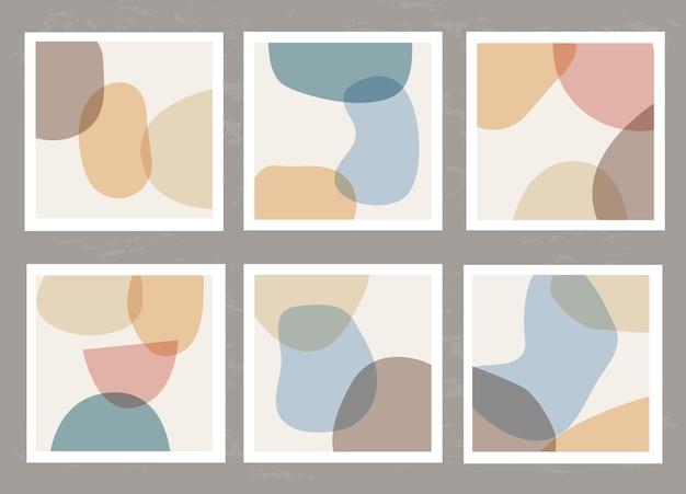 Set moderne sjablonen met een abstracte compositie van eenvoudige vormen in collagestijl