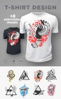 Set moderne t-shirtafdrukken met dieren. .