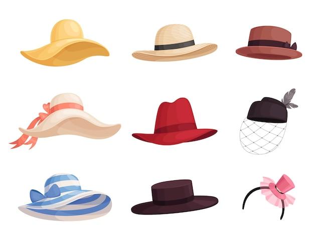 Set modieuze dameshoeden van verschillende kleuren en stijlen in retrostijl. elegante hoed met brede rand, panama, gaucho, fedora. geïsoleerd op een witte achtergrond.