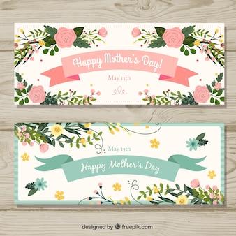 Set moederdag banners met bloemen