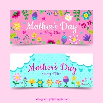 Set moederdag banners met kleurrijke bloemen