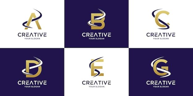 Set monogram beginletters a tot g logo met geborduurde rivier en logistiek ontwerp