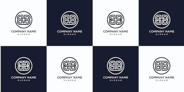 Set monogram briefsjabloon logo